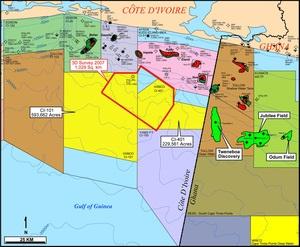 Компании VANCO, ЛУКОЙЛ и PETROCI завершили бурение первой разведочной скважины на шельфе Кот - д'Ивуар