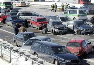 На одном из немецких автобанов столкнулись около 130 машин