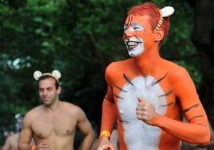 В Лондоне прошел забег голых активистов в поддержку тигров