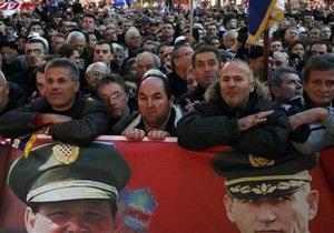 Тысячи жителей Загреба встретили освобожденных хорватских генералов аплодисментами