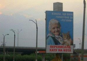 СМИ: В Днепродзержинске губернатор-регионал потребовал убрать билборды с бабушкой и котом