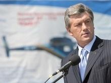 Ющенко спустился на Саур-Могилу на вертолете