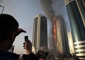 Стала известна вероятная причина пожара в высотном комплексе Грозного