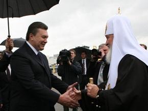 Янукович принимает участие во всенощном бдении с патриархом Кириллом