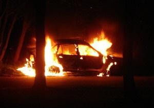 В Днепропетровской области задержали подозреваемых в поджоге автомобиля ГАИ коктейлем Молотова