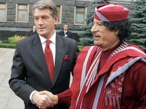 Ющенко поздравил лидера  дружеского ливийского народа  Каддафи
