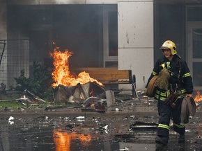 Фотогалерея: Мощный пожар в московской высотке