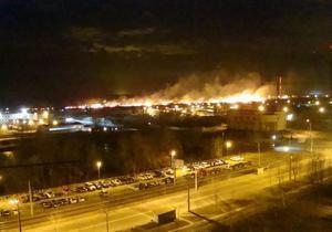 В Киеве на Троещине горит луг, огонь приближается к домам