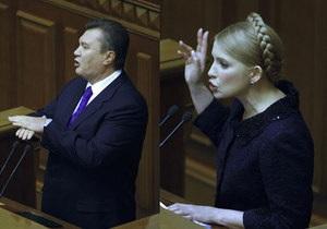 Опрос: Украинцы считают лучшими премьерами Януковича и Тимошенко
