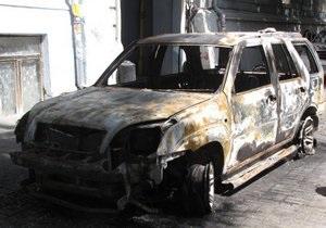 В центре Одессы сгорел джип