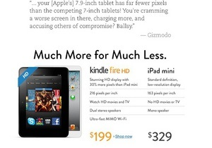 Amazon решила посостязаться с Apple, критикуя iPad mini