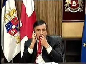 Российские НАШИ накрыли для Саакашвили стол из галстуков, а для Ющенко приготовили дрова