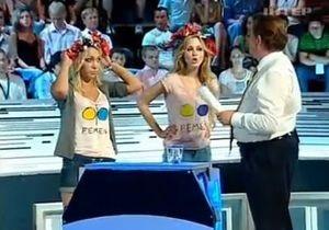 Украина - не Россия: Активистки FEMEN устроили акцию в эфире Большой Политики на Интере