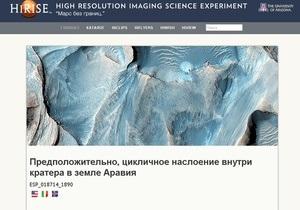 Новости науки - NASA - интернет: NASA запустило рускоязычную страницу Марс без границ