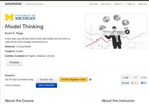 Колосс мирового бесплатного онлайн-образования запускает первый курс на украинском  - coursera - model thinking