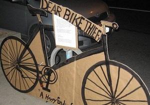 Новости Канады - странные новости: Канадцы заменили украденный велосипед картонкой, чтобы проучить вора