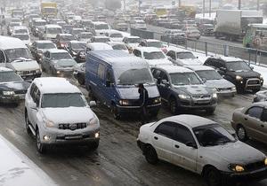 Новини Києва - сніг - затори - дороги - Рух ускладнено: Яндекс оцінює рух на дорогах Києва у 6 балів