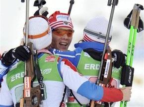 Биатлон: Россиянки выигрывают эстафету