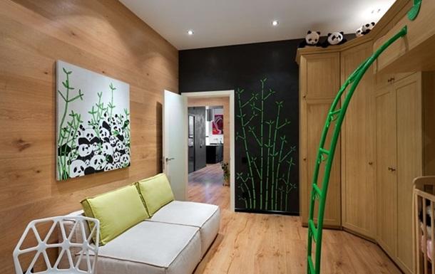 Интерьер - Артистический дизайн киевской квартиры - панды - черные стены