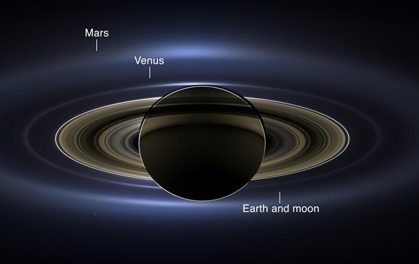 Кассини сделал  семейное фото  Сатурна в окружении Земли, Марса и Венеры