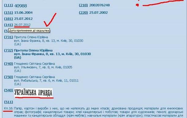 У  Украинской правды  просрочено свидетельство о регистрации товарного знака
