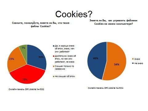 Українські користувачі Інтернет сервісів знають що таке cookies, а ви?