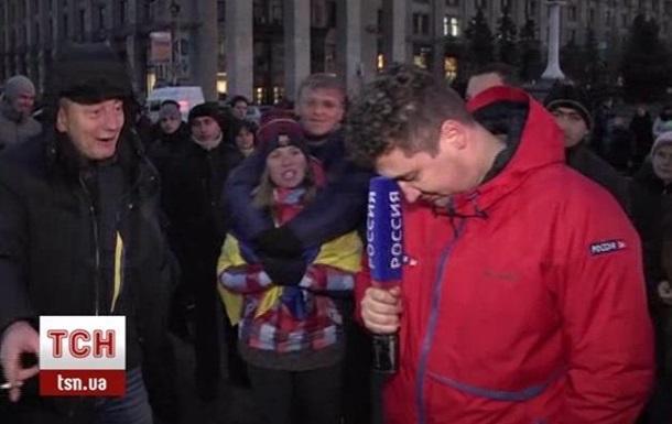На Евромайдане российскому журналисту пришлось работать под крики  Говори правду!
