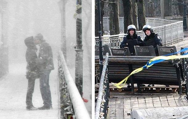 День святого Валентина - Киев - Мост влюбленных - фото - милиция - баррикады