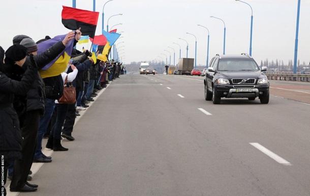 Херсонцы объединили  живой цепью  берега Днепра