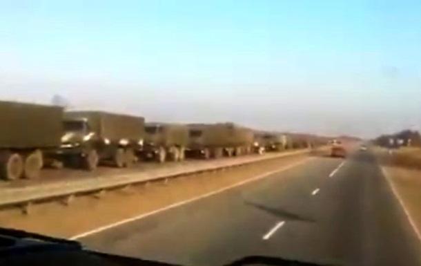 Видео передвижения колонны военной техники в Ростовской области