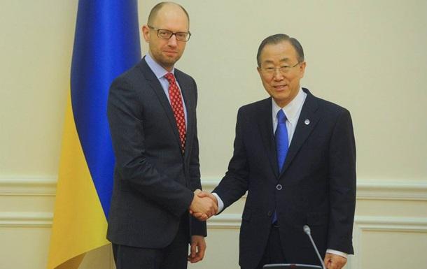 Яценюк - генсеку ООН: Украина ождидает международного ответа на российскую агрессию