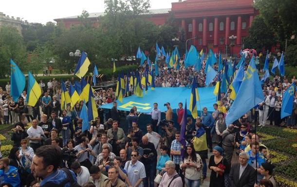 В Киеве в день 70-й годовщины депортации крымских татар прошел митинг