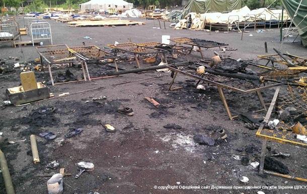 Госпогранслужба обнародовала фото обстрела лагеря АТО в Алексеевке