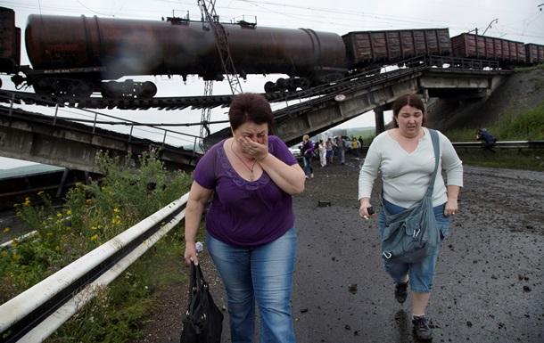 В Донецкой области взорвали железнодорожный мост вместе с поездом