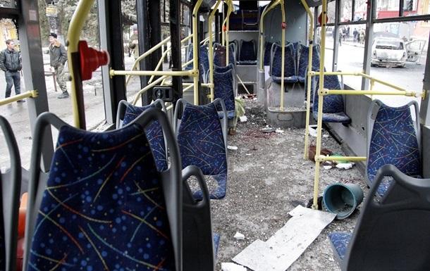 Обстрел троллейбуса в Донецке
