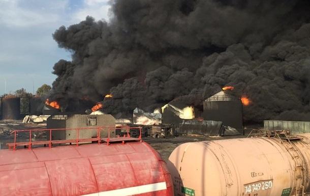 Пожар на нефтебазе под Васильковом