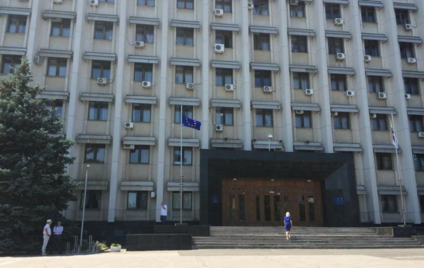 Флаг Украины возле Одесской ОГА заменили флагом ЕС