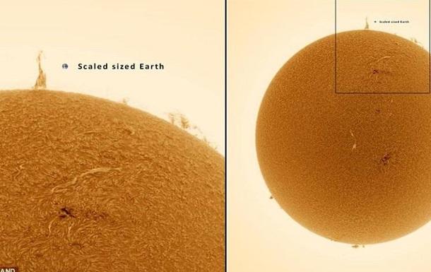 Над поверхностью Солнца возникла  Эйфелева башня  невероятных размеров