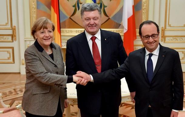 Порошенко, Меркель и Олланд обсудили Донбасс