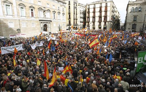 В Барселоне прошел митинг противников независимости Каталонии