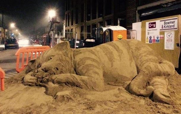 В Лондоне песочный кот протестует против дорогого жилья
