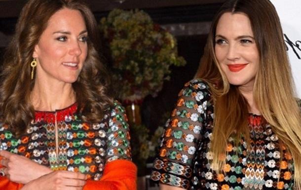 Герцогиня Кембриджская и Дрю Бэрримор  выгуляли  одинаковые платья
