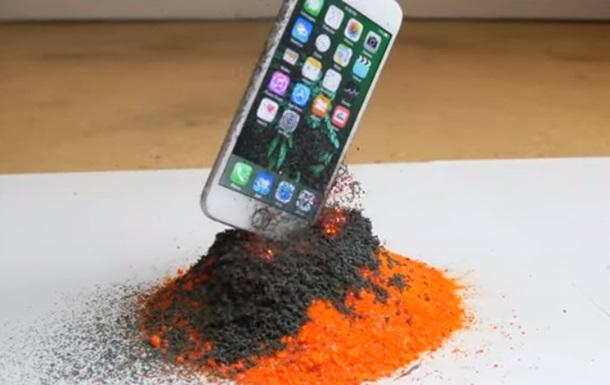 Показано  вулканічний  спосіб знищення iPhone