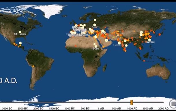 Рождение и смерть городов за 6000 лет показали на видео