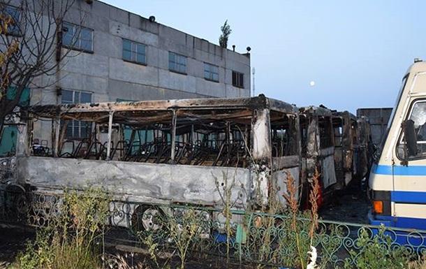 В Николаеве на стоянке сгорели шесть автобусов