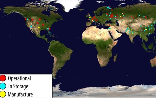 Блогеры показали расположение ядерных бомб в мире