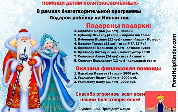 Оказана помощь детям российских и украинских политзаключённых в России.