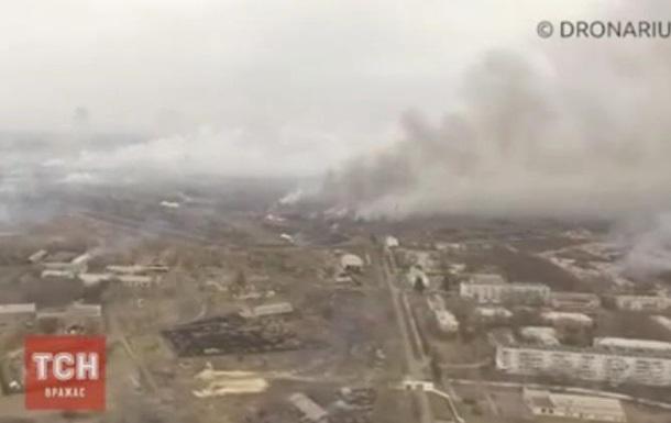 Пожежа в Балаклії: відео з висоти пташиного польоту