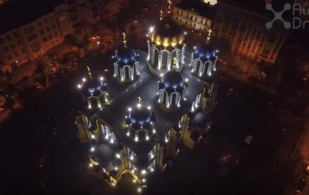 Великодню ніч у Києві показали з дрона