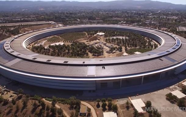 Почти завершенный кампус Apple сняли с дрона